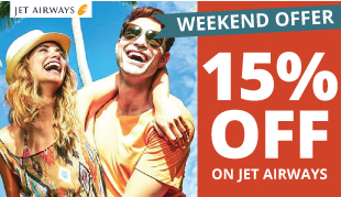 15% OFF on all Jet Airways Flights to any Destination!