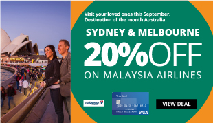 20% off on Flight Bookings to Australia on Malaysia Airlines