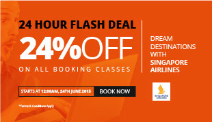 24% OFF on Singapore Airlines Flights!