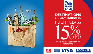 15% OFF | Emirates Flights | 72 Hrs  Sale | Visa Cards