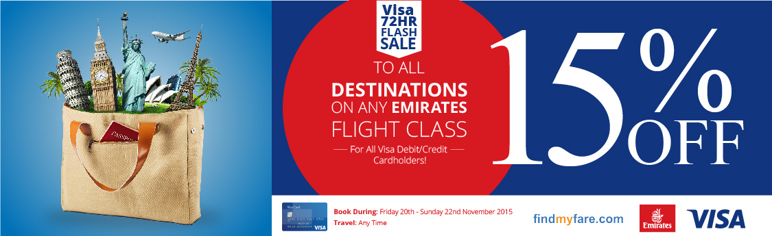 Book your Emirates Flights to any destination with Visa Debit/Credit
