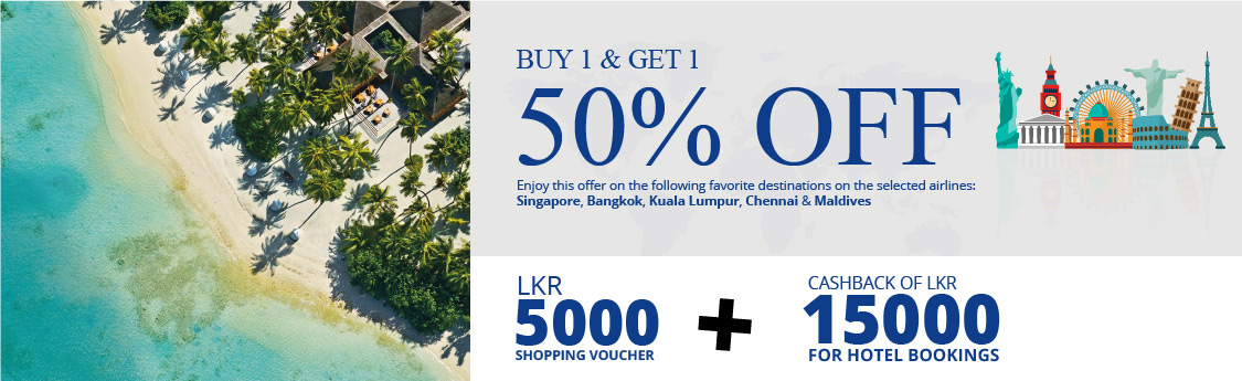 Buy 1 Get one 50% OFF Travel Promotions