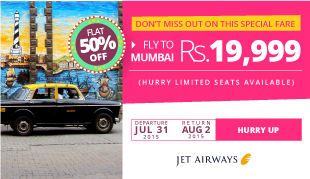 Flat 50% off for your Flight Booking Exclusively on Jet Airw
