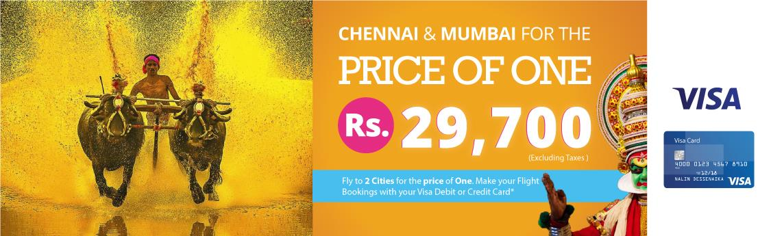Visa promotion of the month of June to Mumbai Chennai and Bangalore