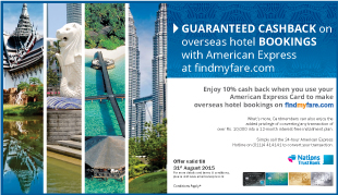 Enjoy 10% cash back on all international hotel bookings!