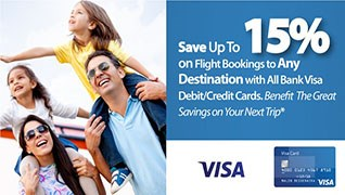 Pay with your visa card and get upto 15% off!