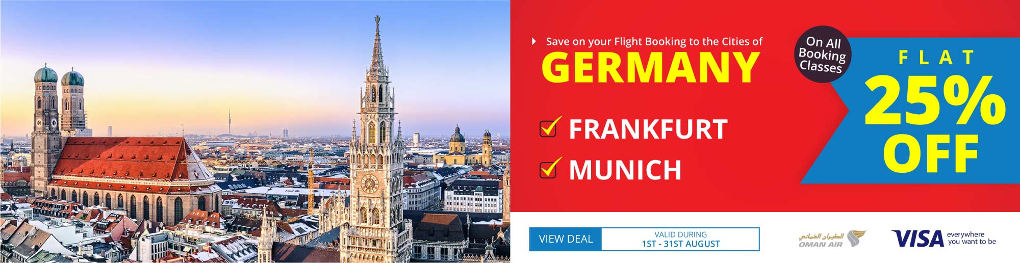 Get 25% Off On Flight Bookings to Germany on Oman Air!